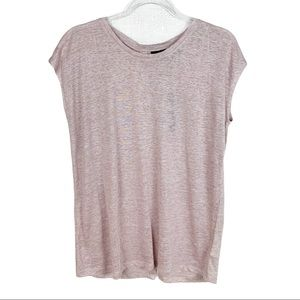 Tahari Pink Linen Cap Sleeve Button Back Tee Tunic